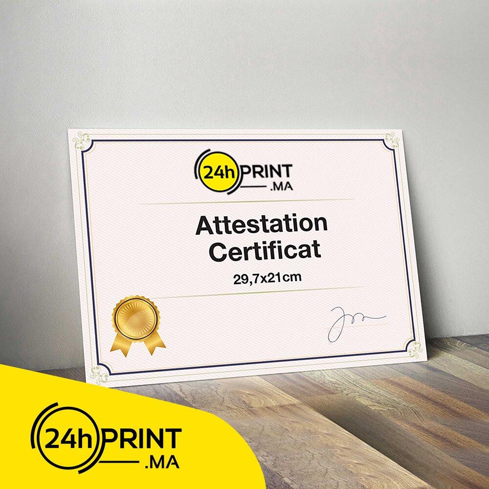Attestation / Certificat > Sans Cadre